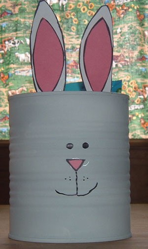 Bunny Easter basket made from a formula can.