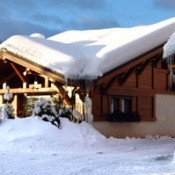 A snowy cabin