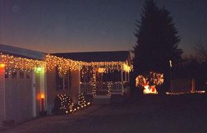 Outdoor Christmas lights on house.