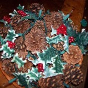 Pine cone filled basket.