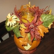 craft pumpkin with fall silk foliage