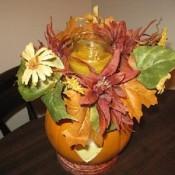 craft pumpkin with fall silk foliage