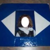 Blue tape covered frame.