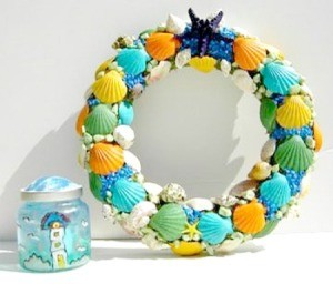 Shell wreath and candle holder.