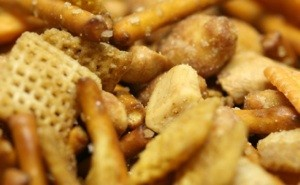 A closeup of Chex party mix, a favorite during the holidays.