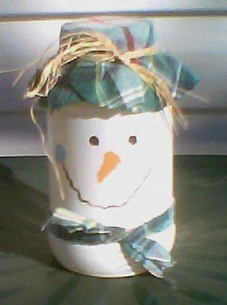 Jar decorated as a snowman.