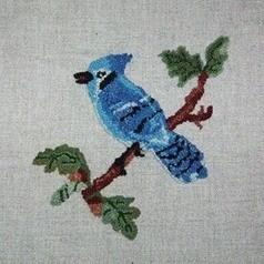 Blue jay hooked rug.