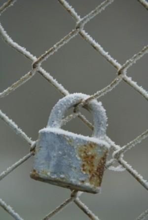 Frozen Metal Padlock