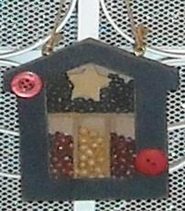Mini shadow box with beans.