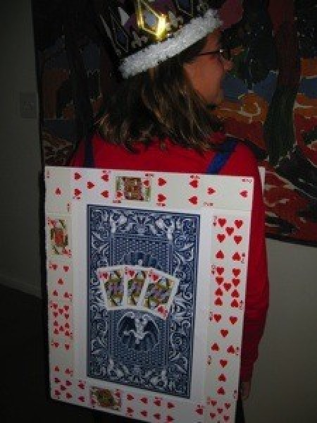 A Queen of Hearts playing card costume.