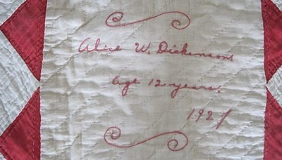Signature of quilt maker.