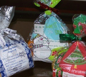 Bags of holiday potpourri made as gifts.