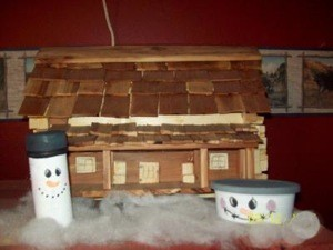 Recycled Snowman Candy Containers - added to Christmas decorations