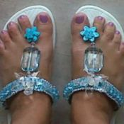 flip flops decorated with beads, etc.