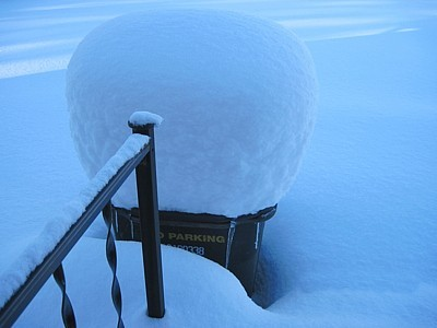 Snow off the back porch.