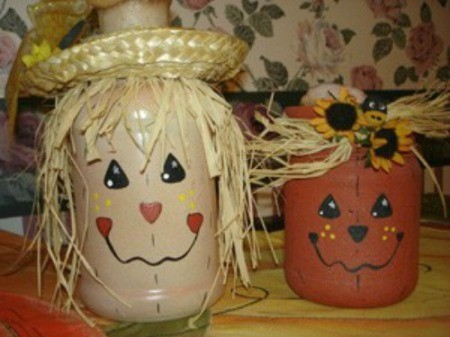 Painted Halloween Jars - scarecrow and pumpkin lights