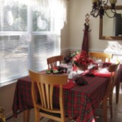 Dining table with window to left.