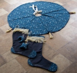 blue tree skirt with stockings