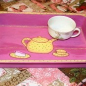 tea pot motif tray