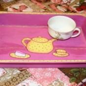 tea pot motif tray