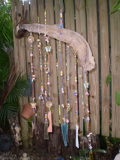 Closeup of beaded wind chime.