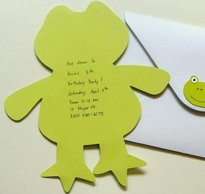 Frog Birthday Invitation, back side