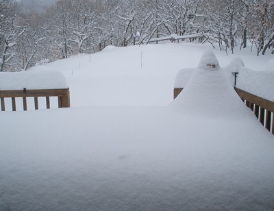 Snow covered deck.