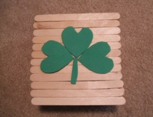 Lid with foam shamrock attached.