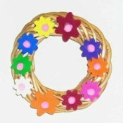 wicker wreath with foam flowers