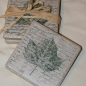 Stamped Tile Coasters - Finished coasters.