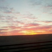 Pink and yellow sunrise.