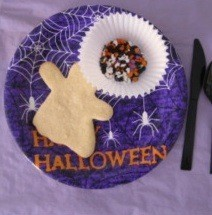 cookie on Halloween plate