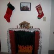 Decorative Christmas cardboard fireplace