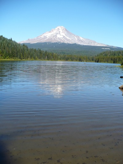 Lake with Mt. Hood in background.
