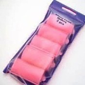 Package of pink foam hair curlers.