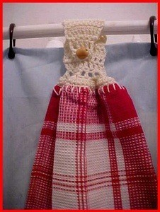 towel with crochet hanger and wooden bead button
