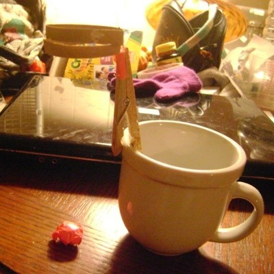 clothes pin on coffee cup