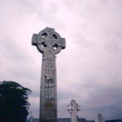 A cross in a graveyard in Ireland.
