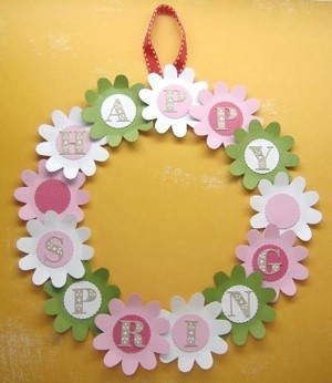 Pastel paper spring wreath.