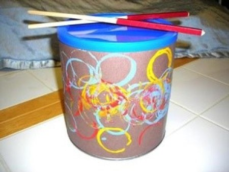 A small drum made from a recycled container.