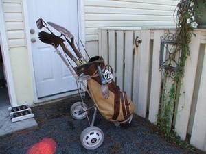 garden tools in golf cart