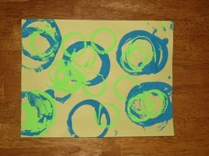 Shapes made with household objects and paint