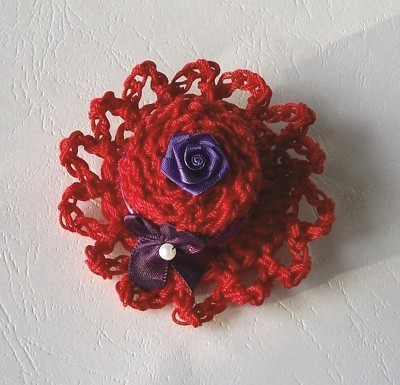 crochet red hat pin