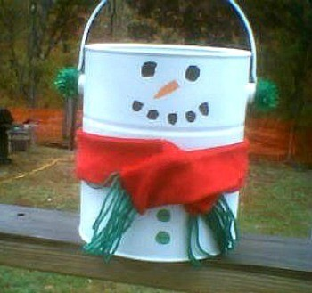 paint can decorated as a snowman