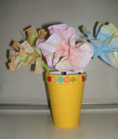 Recycled Flower Pot with Coffee Filter Flowers