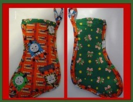 Two colorful padded fabric stockings.