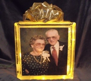Glass block with photo.