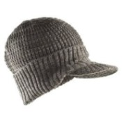 Grey knit hat with brim.