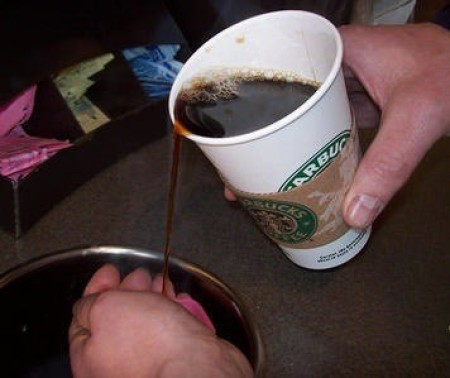 Pouring coffee from a Starbucks cup.