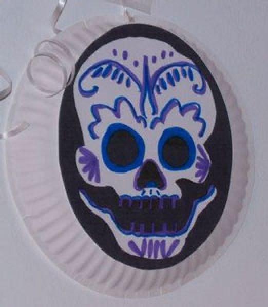 mask design on paper plate